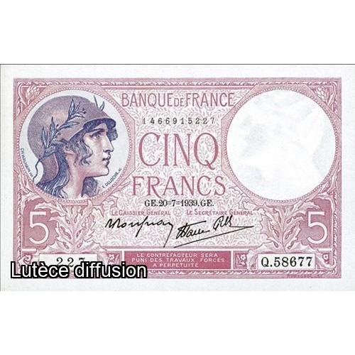 France - 5 francs Violet - Modifie Caissier General  (ref638974)