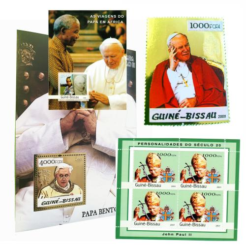 Superbe Lot de timbres Jean-Paul II (timbres Or, Argent et BF)(ref. 661)