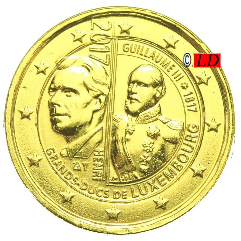 2€  Luxembourg 2017 - dorée or fin 24 carats (ref21178)