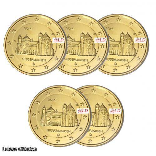 LOT DE 5 ALLEMAGNE 2014 - 2 euros DOREE OR fin (ref43321)