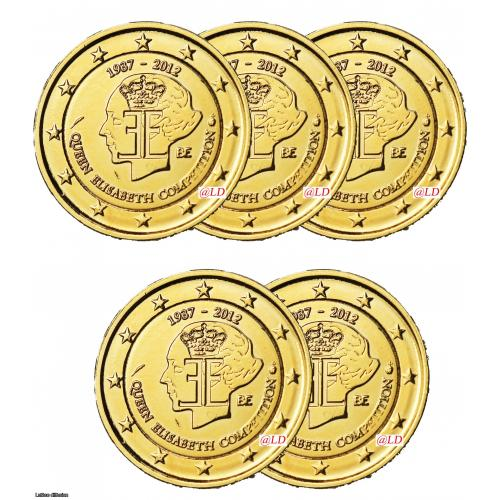 LOT DE 5 BELGIQUE 2012 - 2 euros DOREE OR fin (ref43033)