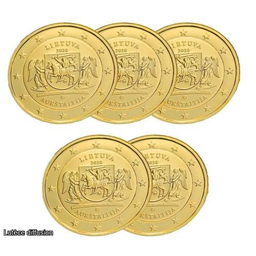 LOT DE 5 PIECES Lituanie 2020 dorée à l'or fin 24 carats - 2€ commémorative (ref44917)