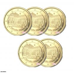 LOT DE 5 - ESPAGNE 2011 - 2 euros DOREE OR fin (ref43040)